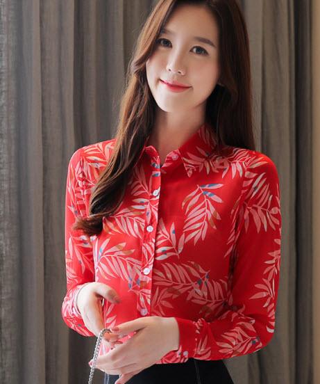 พรีออเดอร์ เสื้อเชิ้ต คอปก แขนยาว ลายดอกไม้ ชุดทำงานสไตลเกาหลีสวย ๆ สี แดงสด