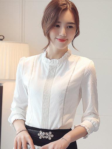 พรีออเดอร์ เสื้อเชิ้ต คอสูง แต่งระบายที่คอ แขนยาว ใส่ทำงานสไตลเกาหลีสวย ๆ สี ขาว ใส่ออกงานได้