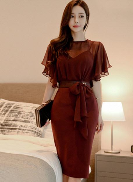 พรีออเดอร์ เดรสชีฟอง เดรส สวย ๆ สไตลเกาหลี ชุดไปงาน สุดหรู สี ส้มอิฐ และดำ