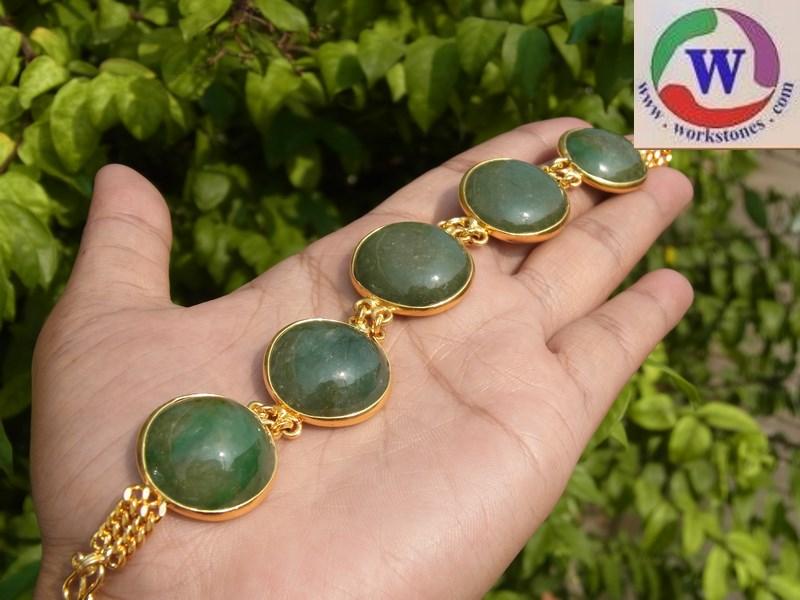 สร้อยข้อมือชุบทองไมครอนหยกเขียวพม่าเม็ดโต หายาก