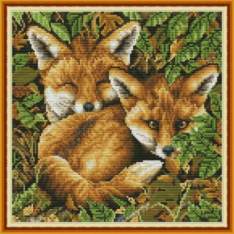 Two foxes (ไม่พิมพ์/พิมพ์ลาย)