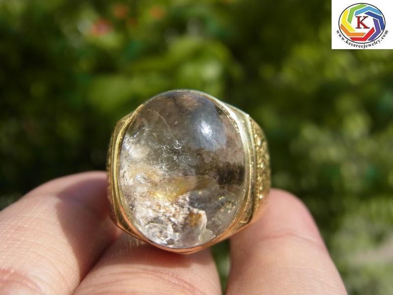 แหวนทองเหลืองชาย เบอร์ 65 แก้วปวก 4 สีดำ เงิน ม่วง ทอง+กาบรุ้ง
