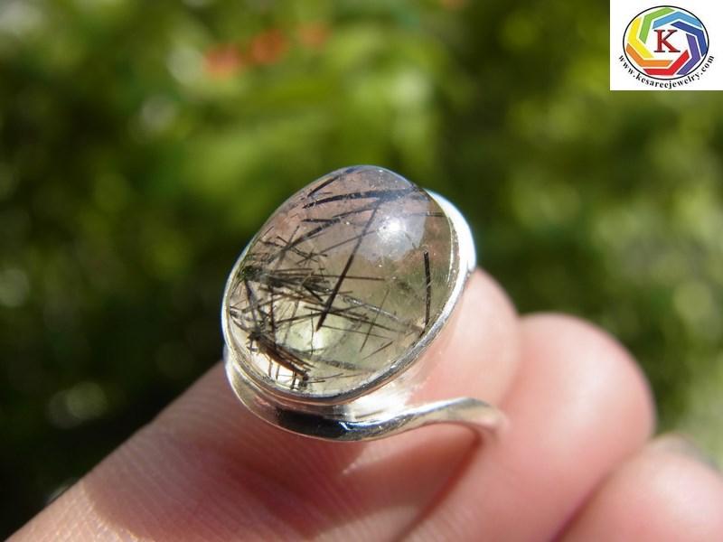 แหวนเงินหญิง แก้วขนเหล็กน้ำใส  เบอร์ 49
