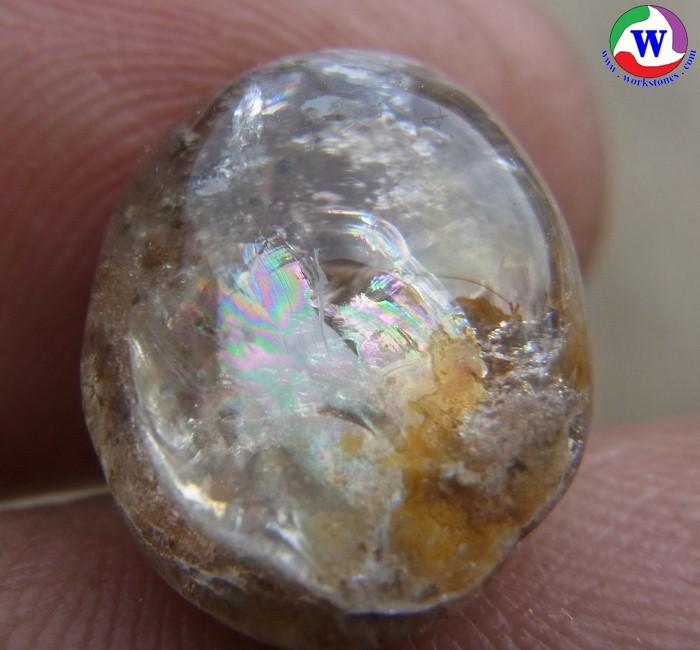 แก้วโป่งข่ามนำโชค 10.95 กะรัต แก้วปวก 4 สี ทองเงินนาคดำ กาบรุ้งสักรชาติสวย