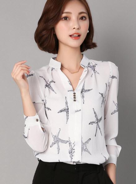 พรีออเดอร์ เสื้อคอจีน ชุดทำงาน เสื้อชีฟองลายดอก แขนยาว สไตลเกาหลีสวย ๆ ใส่สบาย ๆ สี ดำ และขาว