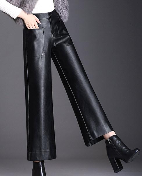 พรีออเดอร์ กางเกงขายาว กางเกงหนังขายาวผ้าหนังเนื้อดี แฟชั่นเกาหลี ใส่กันหนาวในต่างประเทศได้ สี ดำมีกระเป๋า