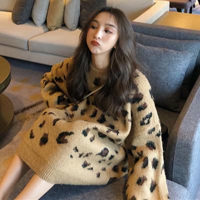 เสื้อไหมพรมกันหนาว เสื้อแขนยาวลายเสือดาว เสื้อไหมพรมผู้หญิง เสื้อกันหนาวไหมพรม