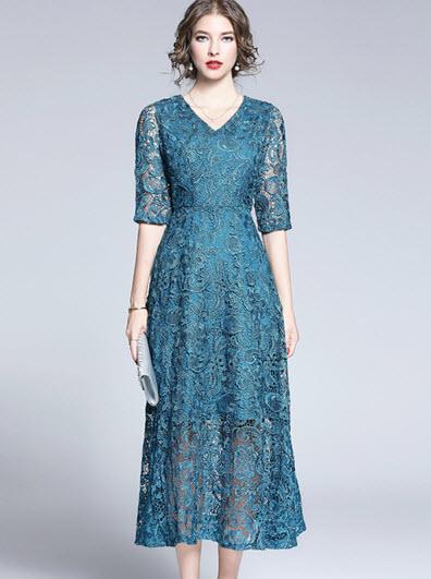 พรีออเดอร์ เดรสลูกไม้แขนสั้น ชุดออกงาน ใส่ไปงานแต่งสวย ๆ คอวี สีฟ้าเขียว