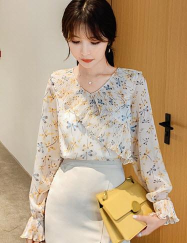 พรีออเดอร์ เสื้อผ้าแฟชั่น เสื้อ สวย ๆ เสื้อชีฟอง แขนยาว ลายดอก สี เหลือง