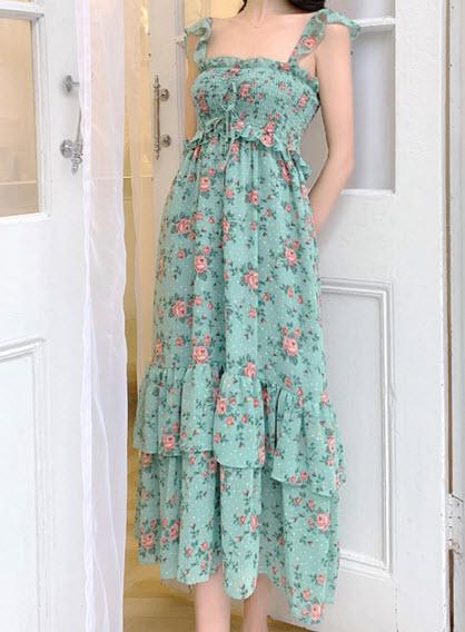 พรีออเดอร์ เดรสลายดอก เดรสไปทะเล สายเดี่ยว เดรสชีฟอง เสื้อผ้าแฟชั่น สวย ๆ สี เขียว