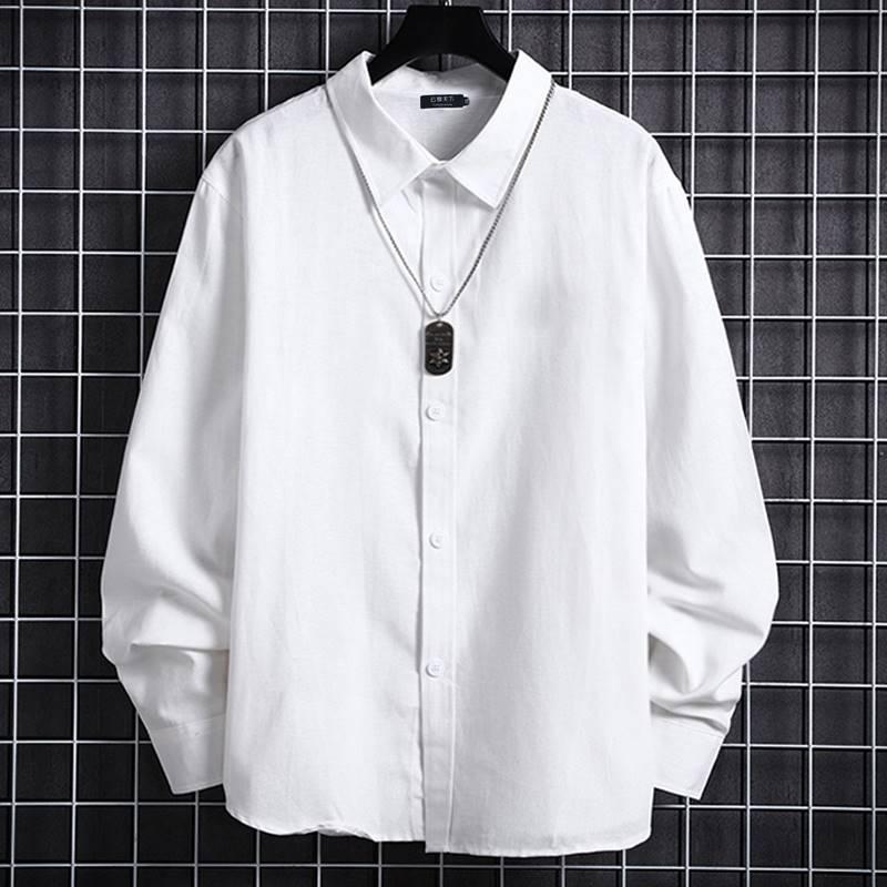 ขนาด:2XL 3XL 4XL 5XL 6XL 7XL 8XL สี:ขาว เสื้อคนอ้วน เสื้อผ้าผู้ชาย ขนาดใหญ่ เสื้อเชิ้ต แขนยาว