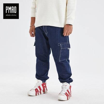 ขนาด:2XL 3XL 4XL 5XL 6XL สี:น้ำเงิิน กางเกงคนอ้วน กางเกงผู้ชาย ขนาดใหญ่ กางเกงยีนส์ ขายาว