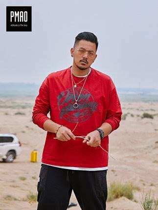 ขนาด:XL 2XL 3XL 4XL 5XL 6XL สี:แดง เสื้อคนอ้วน เสื้อผ้าผู้ชาย ขนาดใหญ่ เสื้อยืด แขนยาว