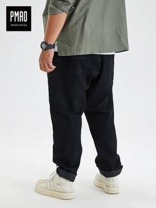 ขนาด:2XL 3XL 4XL 5XL 6XL สี:ดำ กางเกงคนอ้วน กางเกงผู้ชาย ขนาดใหญ่ กางเกงยีนส์ ขายาว