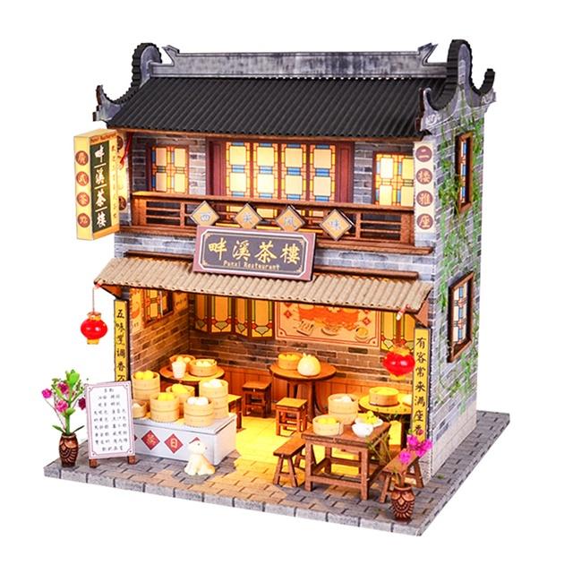 เปิดจอง>> DIYโมเดลร้านขายซาลาเปา โมเดลบ้านสไตล์จีนโบราณ บ้านตุ๊กตา ชุดอุปกรณ์ครบเซ็ตในกล่อง