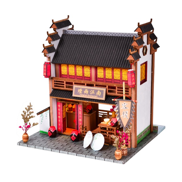 พร้อมส่ง>> DIYโมเดลร้านขายสุราอาหาร โมเดลบ้านสไตล์จีนโบราณ บ้านตุ๊กตา ชุดอุปกรณ์ครบเซ็ตในกล่อง