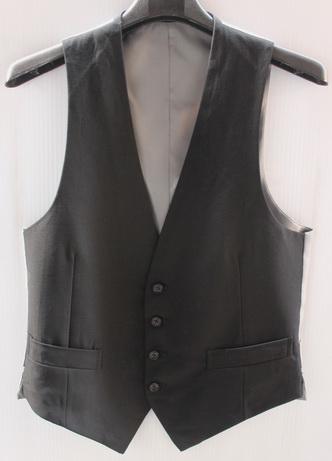 รอบอก 33  เสื้อสูท เสื้อผ้าผู้ชาย เสื้อกั๊กสูท สีดำ ด้านหลังสีเทา มีซับใน