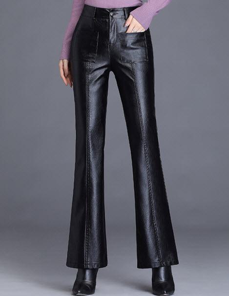 พรีออเดอร์ กางเกงขายาว กางเกงหนัง กางเกงสวย ๆ ขากระดิ่ง แฟชั่นเกาหลี กระเป๋าหน้า สี ดำ