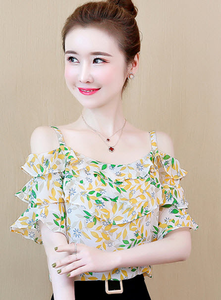 พรีออเดอร์ เสื้อผ้าแฟชั่น แขนสั้น สายเดี่ยว แขนตุ๊กตา สวย ๆสไตลเกาหลี ผ้าชีฟอง สี เหลืองเขียว  และชมพู