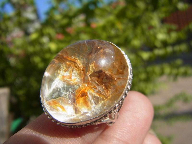 แหวนแก้วกาบกลีบดอกไม้สีเงินสีทอง เบอร์ 55 ครึ่ง ตัวเรือนเงินแท้