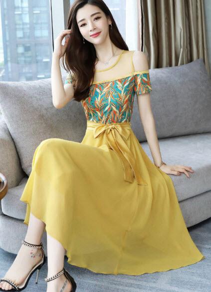 พรีออเดอร์ เดรส แฟชั่นเกาหลี เปิดไหล่ ชีฟองสวย ๆ สไตลเกาหลี สี แดง เหลือง