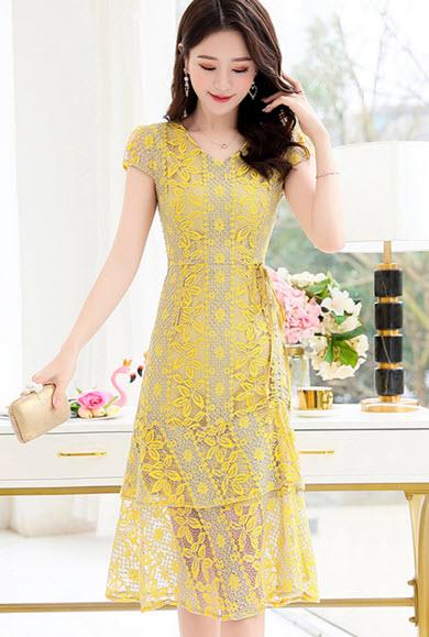 พรีออเดอร์ เดรสสั้น เสื้อผ้าแฟชั่น เดรสลายดอก ชีฟองสวย ๆ สี เหลือง ฟ้า