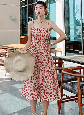 พรีออเดอร์ เดรส สายเดี่ยว ลายดอก วินเทจ เสื้อผ้าแฟชั่นสวย ๆ เดรสยาว สี แดง