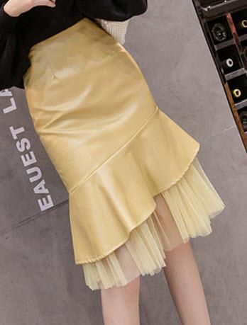 พรีออเดอร์ กระโปรงหนัง แฟชั่นเกาหลี ทรงหางปลา เข้ารูป เสื้อผ้าแฟชั่น ผ้าหนัง สี เหลือง เขียว ดำ และครีม