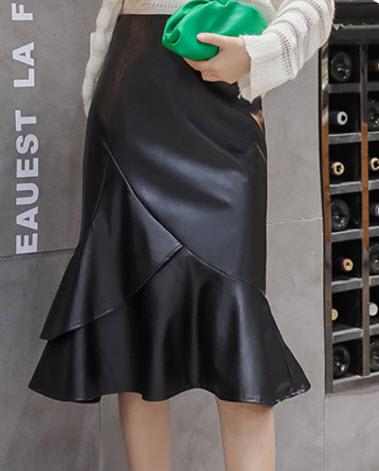 พรีออเดอร์ กระโปรง สวย ๆ แฟชั่นเกาหลี กระโปรงหนัง เสื้อผ้าแฟชั่น ใส่ไปต่างประเทศได้ สี ดำ หนังเนื้อดี