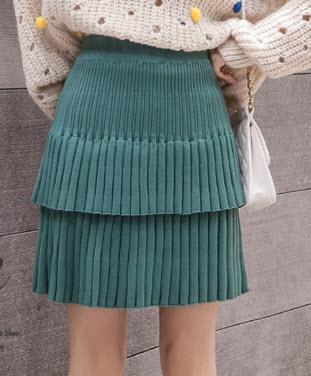 พรีออเดอร์ กระโปรงสั้น กระโปรงทำงาน ผ้าไหมพรม อัดพลีท แต่งระบายเป็นชั้น แฟชั่นเกาหลีสวย ๆ สี เขียว ครีม เทาเข้ม ดำ