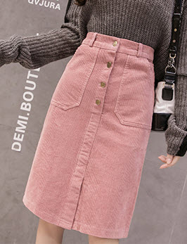 พรีออเดอร์ กระโปรง สวย ๆ กระโปรงยาวลูกฟูก สไตลเกาหลี ใส่ทำงานได้ สี ชมพูกะปิ ครีม ดำ