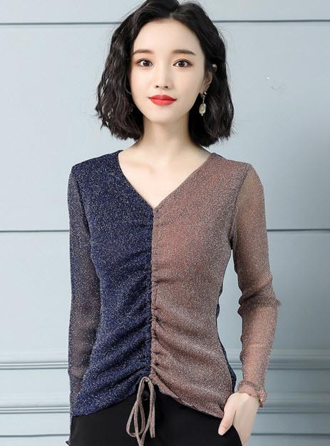 พรีออเดอร์ เสื้อผ้าแฟชั่น แขนยาว คอวี ไหมพรมบางยืดหยุ่นได้ สไตลเกาหลี สวย ๆ ใส่ทำงานได้ สีแดง และน้ำตาล