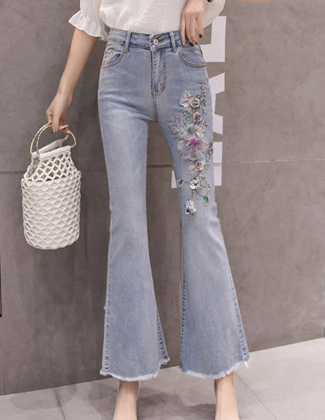 พรีออเดอร์ กางเกงขายาว ปักลายดอกไม้ ข้าง กางเกงยีนส์ แฟชั่นเกาหลี สี ยีนส์อ่อน