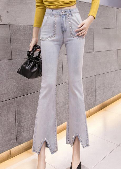 พรีออเดอร์ กางเกงขายาว แต่งลวดลาย กางเกงยีนส์สวยๆ สไตลเกาหลี สี ยีนส์อ่อน ยีนส์ซีด