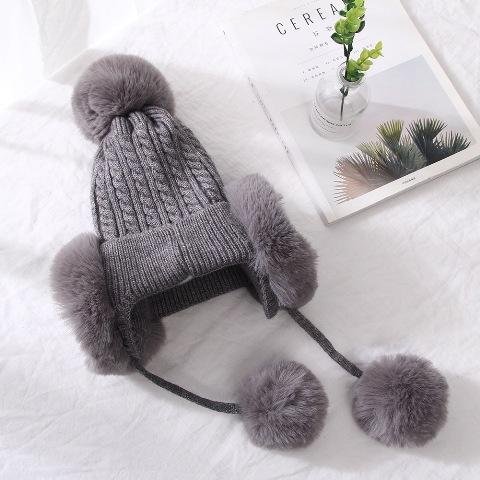 (พร้อมส่งสีเทา) หมวกกันหนาว 2 in 1 หมวกกันหนาวแฟชั่น หมวกไหมพรมผู้หญิง