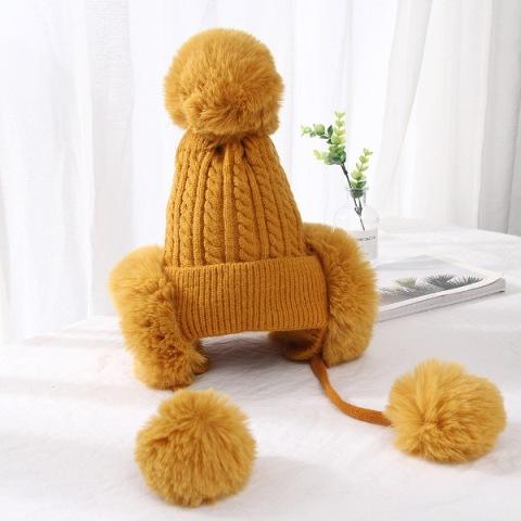 (พร้อมส่งสีเหลือง) หมวกกันหนาว 2 in 1 หมวกกันหนาวแฟชั่น หมวกไหมพรมผู้หญิง