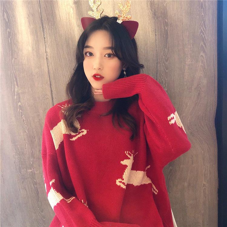 (พร้อมส่งสีแดงลายกวาง) เสื้อแขนยาวสีแดง เสื้อคริสต์มาส เสื้อสีแดงแขนยาว
