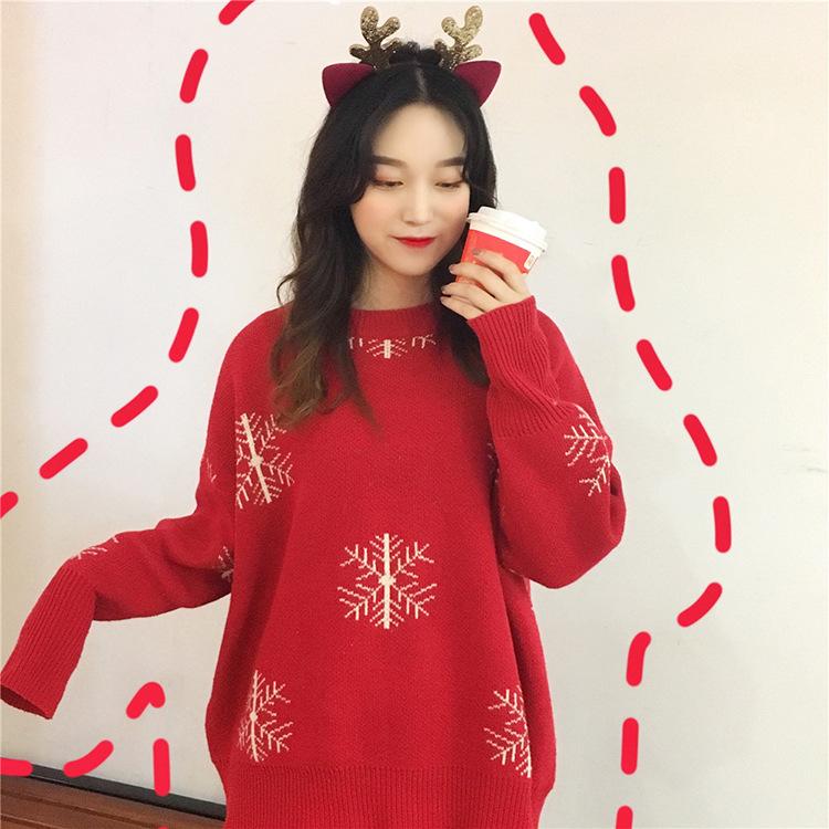 (พร้อมส่งสีแดงลายหิมะ) เสื้อแขนยาวสีแดง เสื้อคริสต์มาส เสื้อสีแดงแขนยาว