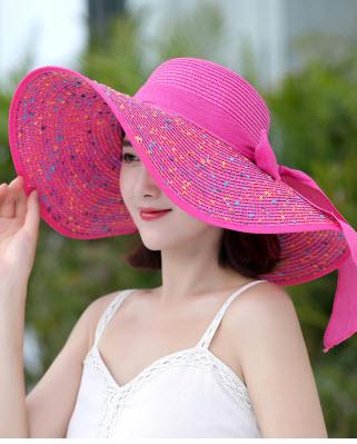 พร้อมส่ง หมวกแฟชั่น ใส่ไปทะเล หมวกสาน แบบบาน ลายดอกไม้ ใส่กันแดด สี ชมพู