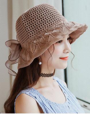 พร้อมส่ง หมวกสวย ๆ หมวกกันหนาว หมวกกันแดด ไหมพรม โบว์ใหญ่ สี น้ำตาล