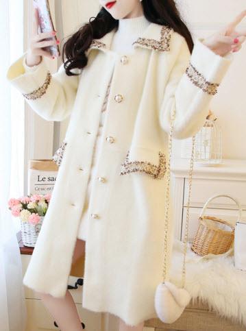 พรีออเดอร์ เสื้อโค้ทกันหนาว แขนยาว โค้ท เกาหลีสวย ๆ เสื้อผ้าผู้หญิง ใส่ไปต่างประเทศ สี ครีม และชมพู