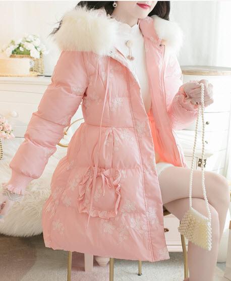 พรีออเดอร์ เสื้อโค้ทกันหนาว แขนยาวสวย ๆ เสื้อกันหนาวเกาหลี เสื้อผ้าแฟชั่นผู้หญิง สี ครีม ชมพู