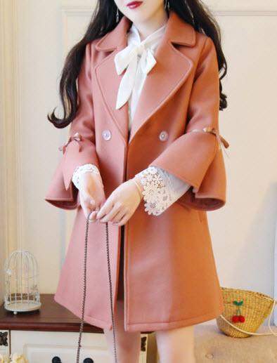 พรีออเดอร์ เสื้อโค้ทกันหนาว แขนยาว เสื้อผ้าแฟชั่นผู้หญิง โค้ทเกาหลี ผ้าวูล แขนระฆัง สี ส้มอิฐ ชมพู และขาว