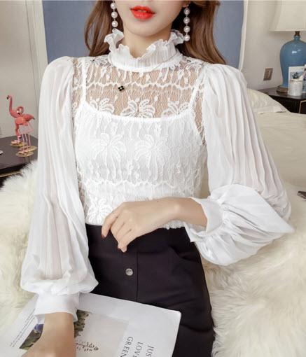 พรีออเดอร์ เสื้อแฟชั่น คอสูง คอปีน แขนยาว เสื้อออกงาน ชุดออกงาน สวย ๆ จั๊มแขน เสื้อขาว สี ขาว ดำ