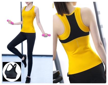 **3ชิ้น size M/L/XL สีเหลือง ชุดออกกำลังกาย/โยคะ/ฟิตเนส เสื้อแขนกุด+บรา+กางเกงขายาว
