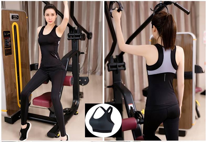 **3ชิ้น size M/XL สีดำ ดออกกำลังกาย/โยคะ/ฟิตเนส เสื้อแขนกุด+บรา+กางเกงขายาว