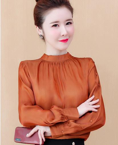 พรีออเดอร์ เสื้อผ้าแฟชั่น เสื้อแขนยาว ชุดออกงาน ใส่ไปงานแต่งหรือออกงานราตรีได้ เรียบหรู สี ส้ม