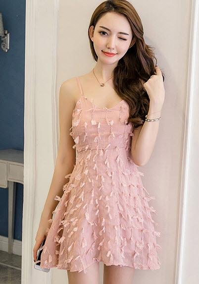 พรีออเดอร์ เดรสสั้น สายเดี่ยว เดรสราตรี ออกงาน ใส่ไปงานแต่ง สวย ๆ เสื้อผ้าแฟชั่นเกาหลี สี โอรส ขาว