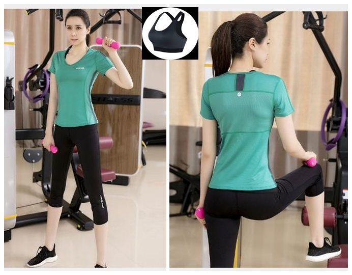 **3ชิ้น  size M/L/XL  สีเขียว ชุดออกกำลังกาย/โยคะ/ฟิตเนส เสื้อแขนสั้น+บรา+กางเกงขาส่วน