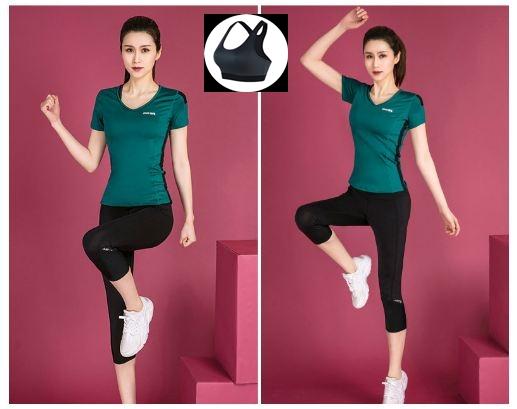 **3ชิ้น  size M/L/XL  สีเขียวเข้ม ชุดออกกำลังกาย/โยคะ/ฟิตเนส เสื้อแขนสั้น+บรา+กางเกงขาส่วน